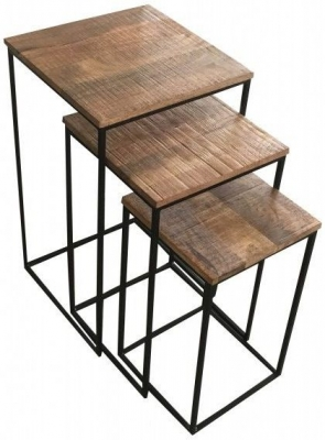 Jaipur Industrial Mango Wood and Iron Nest of 3 Tables