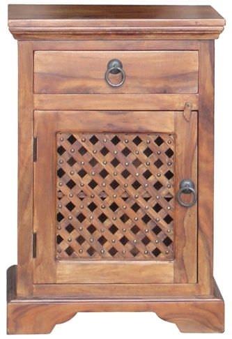 Clearance Jaipur Furniture Ganga Latic Jali Bedside Cabinet - 1 Door 1 Drawer Left Hand Hinged - G30