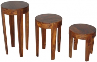 Jaipur Furniture Wooden Round Table - Set of 3