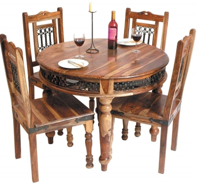 Jaipur Jali Sheesham Round Dining Table with 4 Chairs