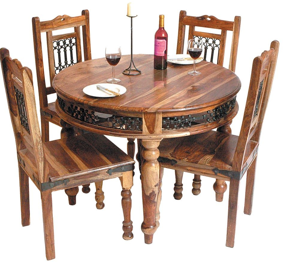 Buy jaipur furniture jali dining set round with 4 chairs for Buy round table