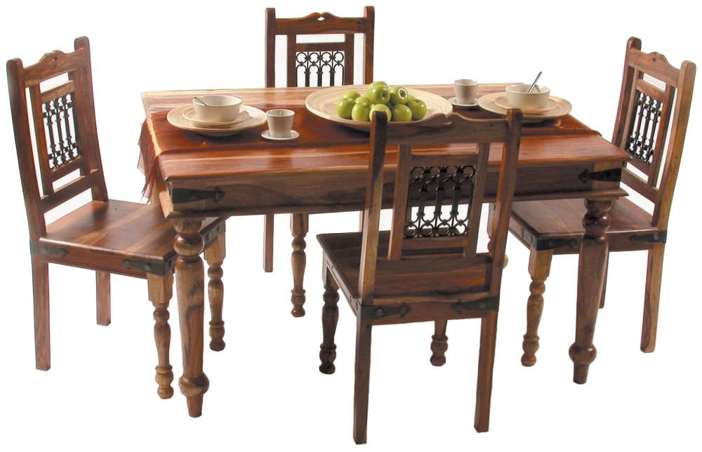 Jaipur Jali Sheesham Small Dining Set with 4 Chairs - 135cm
