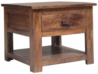 Jaipur Furniture Kashmir Walnut Side Table - 1 Drawer