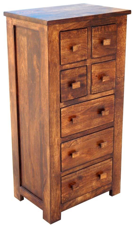 Jaipur furniture kashmir walnut cabinet tall 7 drawers for Kitchen cabinets jaipur