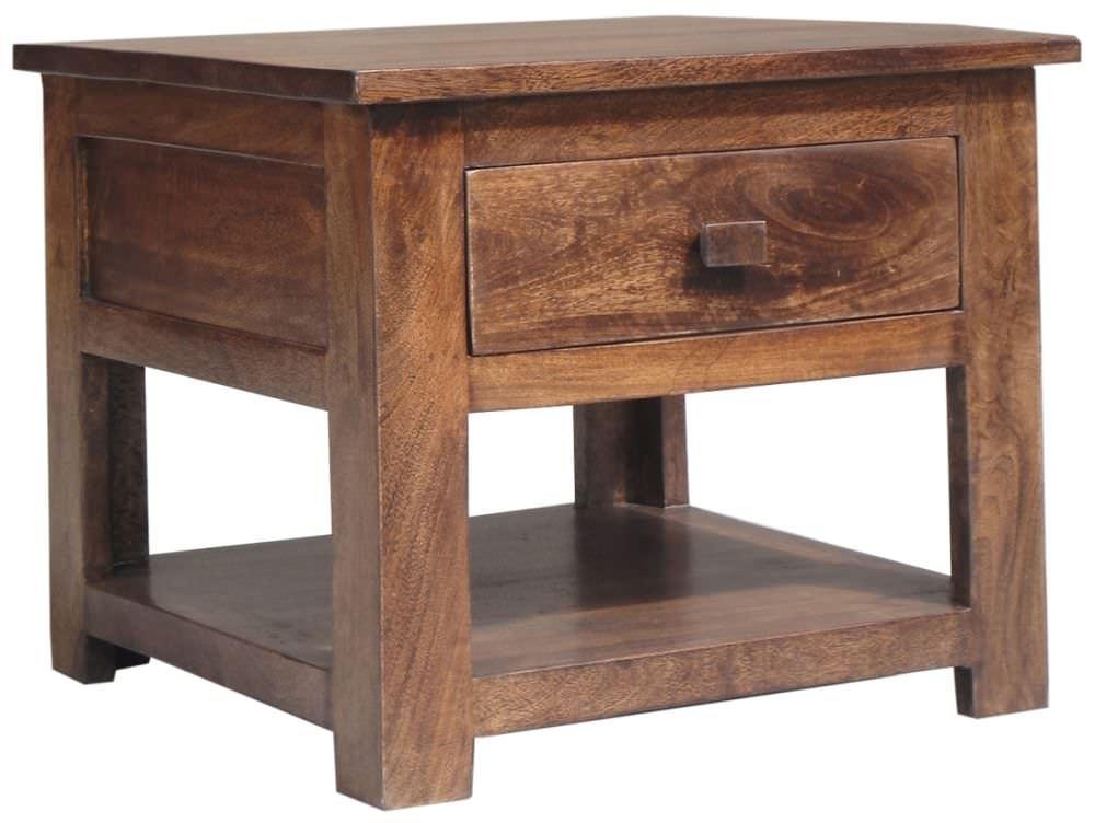 Jaipur furniture kashmir walnut side table 1 drawer for Walnut furniture