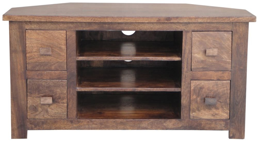 Jaipur Kashmir Walnut Mango Wood TV Units - Corner 4 Drawer
