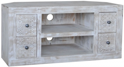 Jaipur Mandakini Mango Wood Large Corner TV Unit