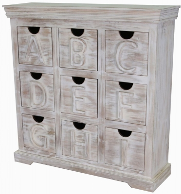 Jaipur Mandakini Mango Wood Alphabetic 9 Drawer Chest