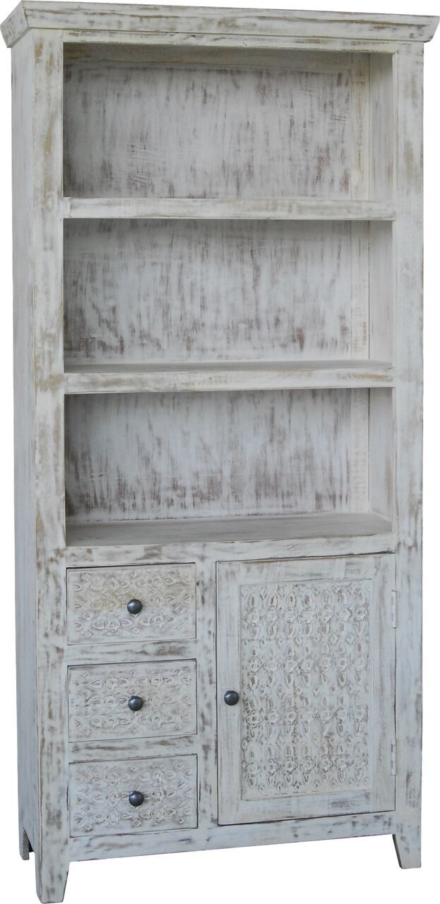 Jaipur Mandakin Mango Wood 1 Door 3 Drawer Large Bookcase