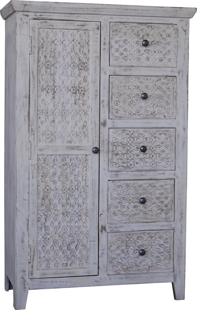 Jaipur Mandakini Mango Wood 1 Door 5 Drawer Cabinet
