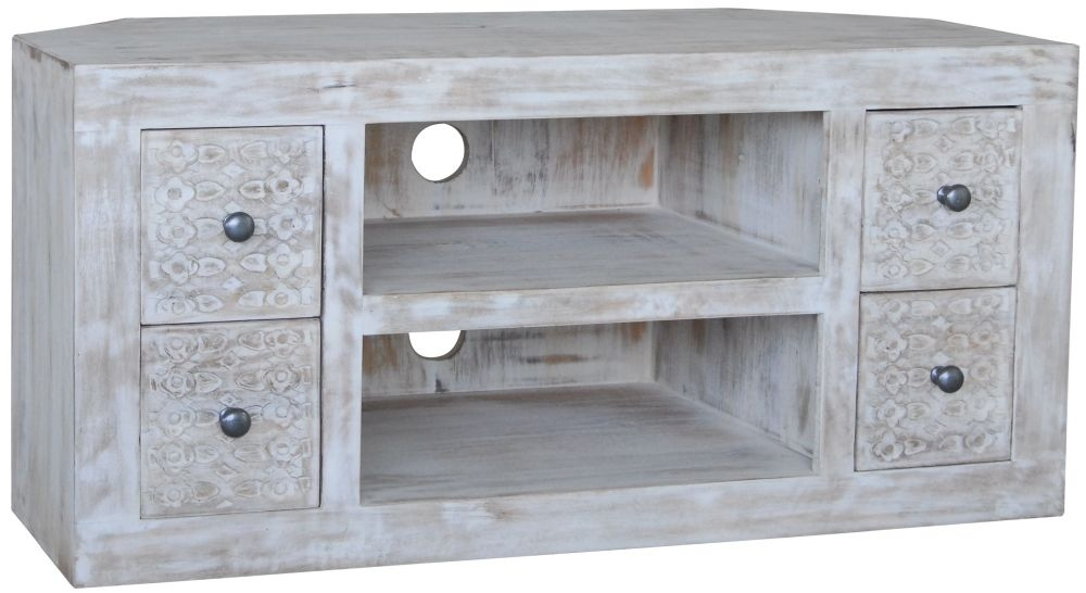 Jaipur Mandakini Mango Wood 4 Drawer Corner TV Unit