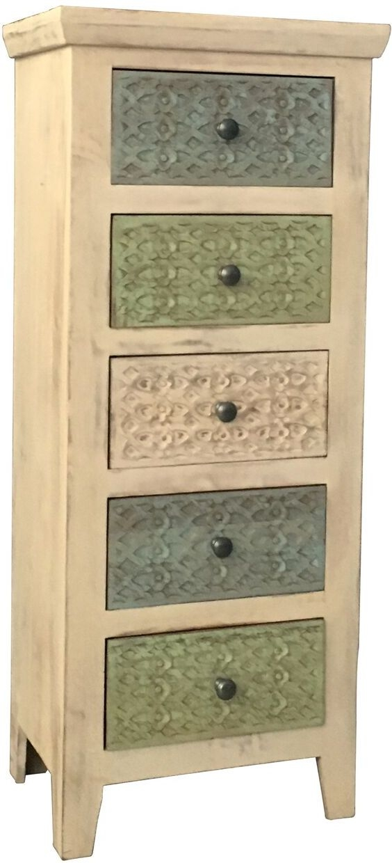 Jaipur Mandakini Mango Wood 5 Coloured Drawer Tall Chest