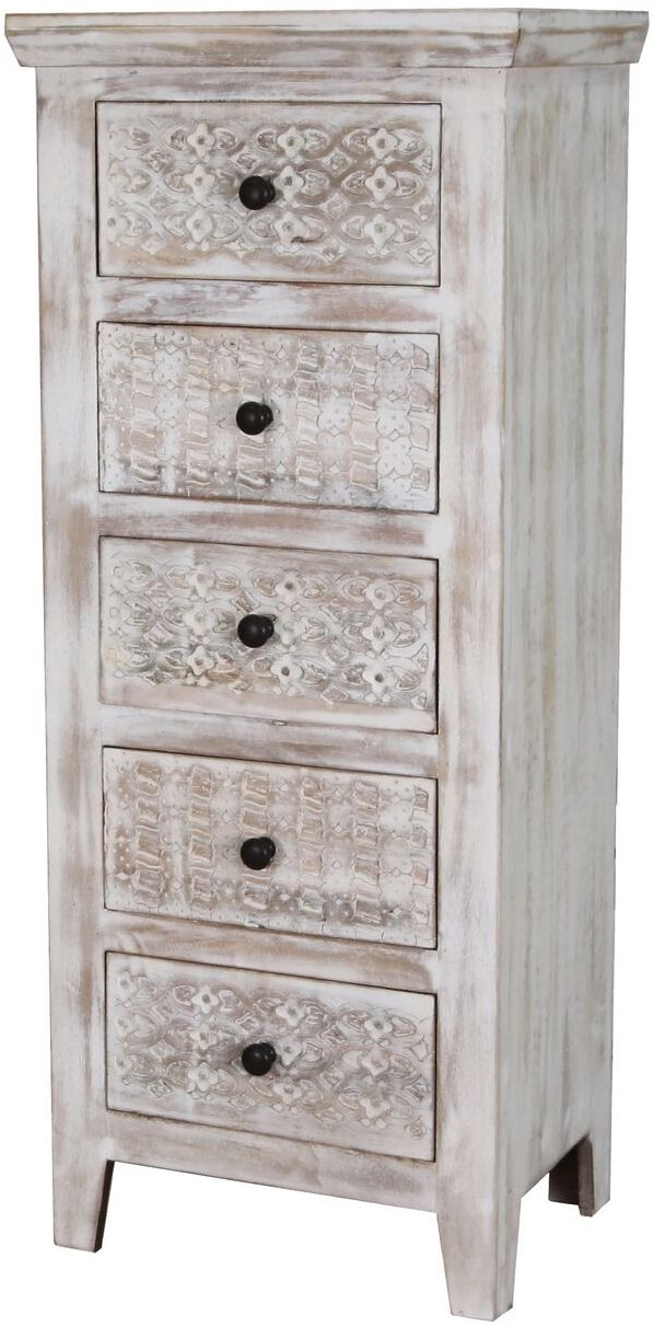 Jaipur Mandakini Mango Wood 5 Drawer Tall Chest