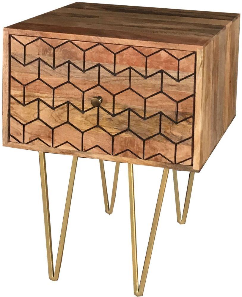 Jaipur Nive Mango Wood 1 Drawer Lamp Table