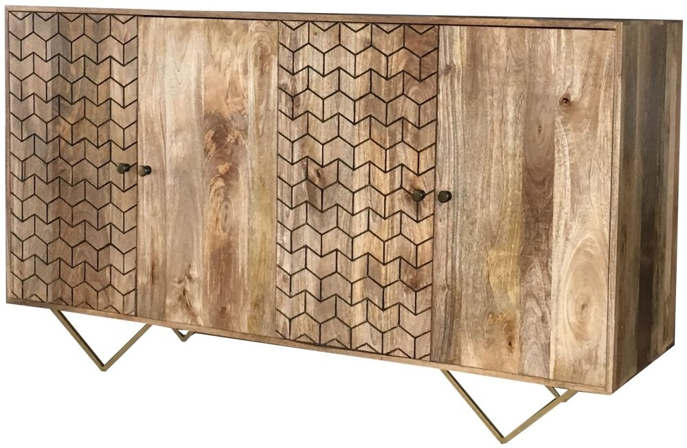 Jaipur Nive Mango Wood 4 Door Wide Sideboard