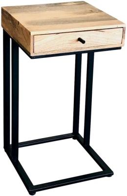 Jaipur Ravi 1 Drawer Side Table - Mango Wood and Iron