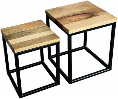 Jaipur Ravi Set of 2 Stool - Mango Wood and Iron