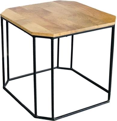 Jaipur Ravi Mango Wood and Iron Small Side Table - RAV-1242