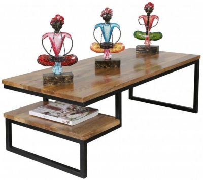 Jaipur Ravi Coffee Table - Light Mango Wood and Iron
