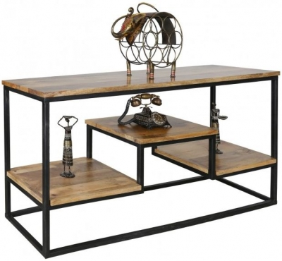 Jaipur Ravi Console Table - Light Mango Wood and Iron