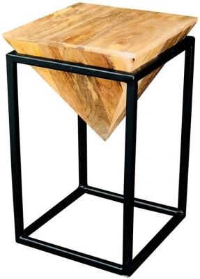 Jaipur Ravi Black Large Diamond Stool - Light Mango Wood and Iron