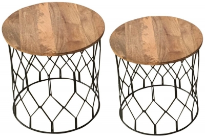 Jaipur Ravi Black Large Side Table - Light Mango Wood and Iron