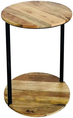 Jaipur Ravi Light Mango Wood and Iron Round Side Table