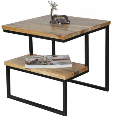 Jaipur Ravi Light Mango Wood and Iron Side Table