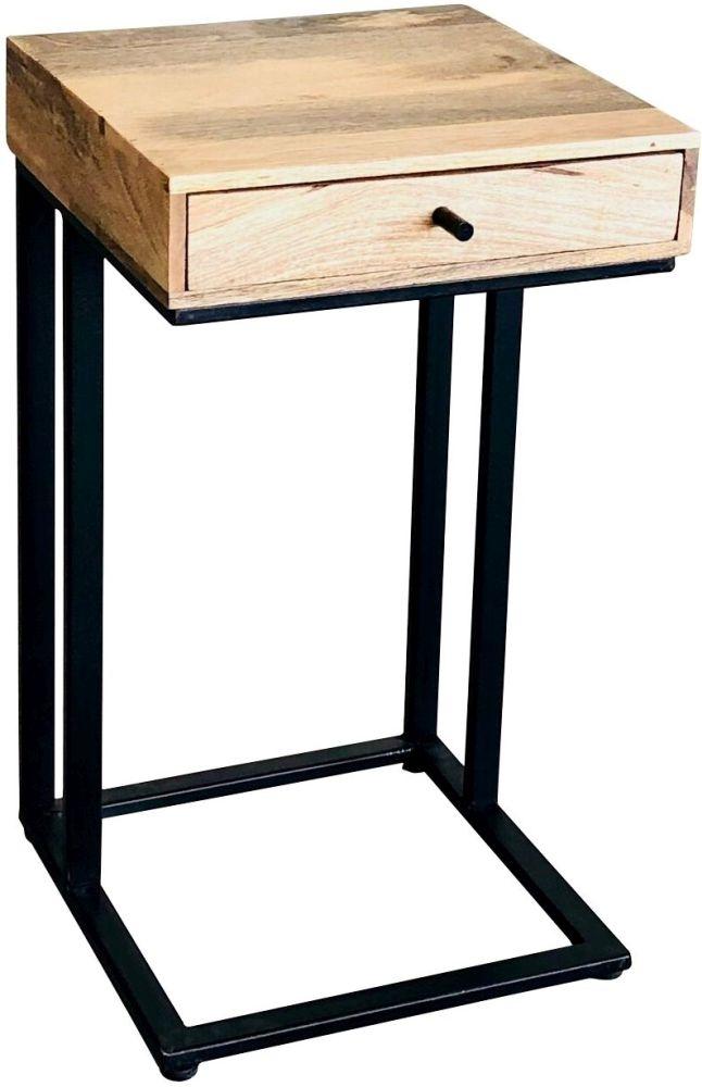 Jaipur Ravi 1 Drawer Large Side Table - Mango Wood and Iron