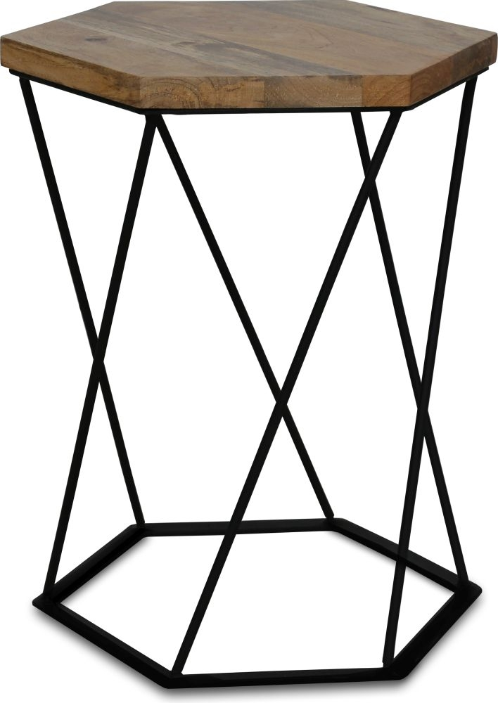 Jaipur Ravi Hexagnol Lamp Table - Wood and Iron