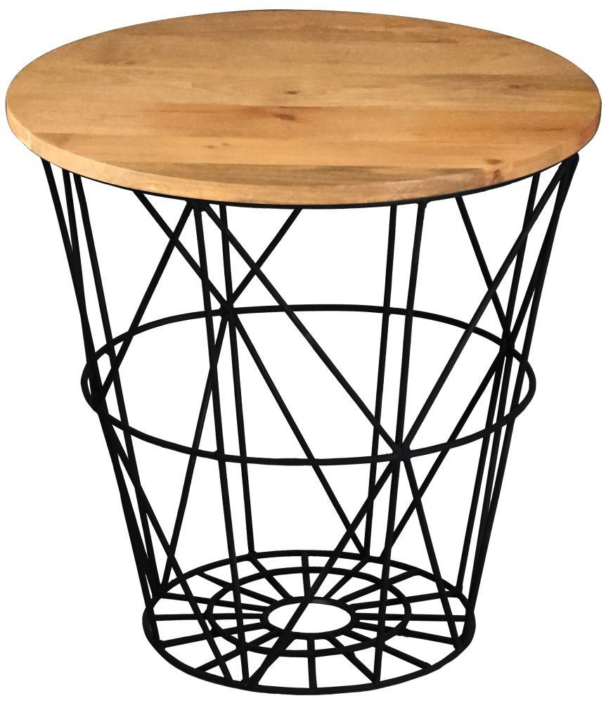Jaipur Ravi Large Round Side Table - Mango Wood and Iron
