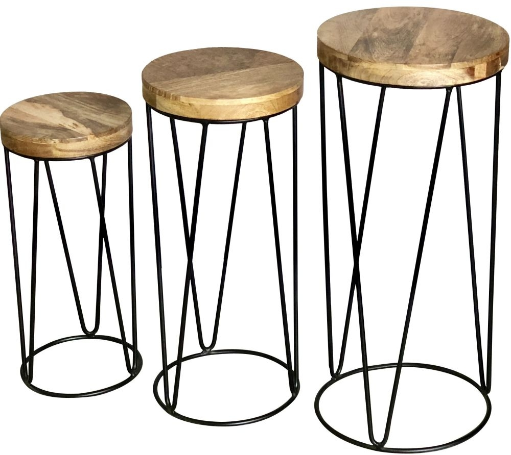 Jaipur Ravi Round Set of 3 Stool - Mango Wood and Iron