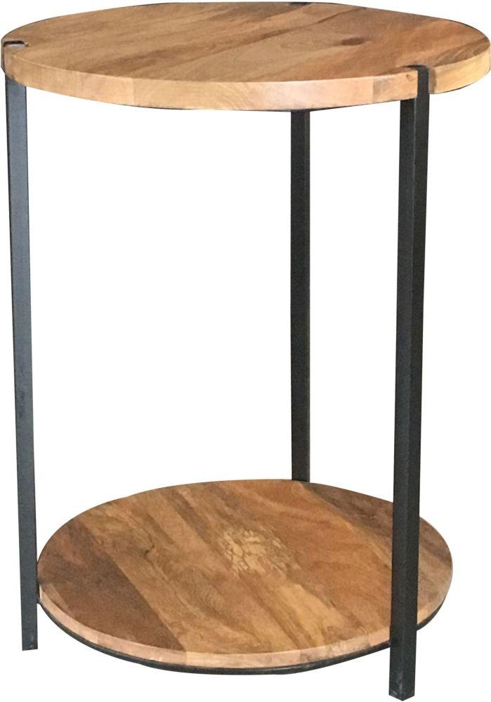Jaipur Ravi Light Mango Wood and Iron Round Side Table - RAV-1224