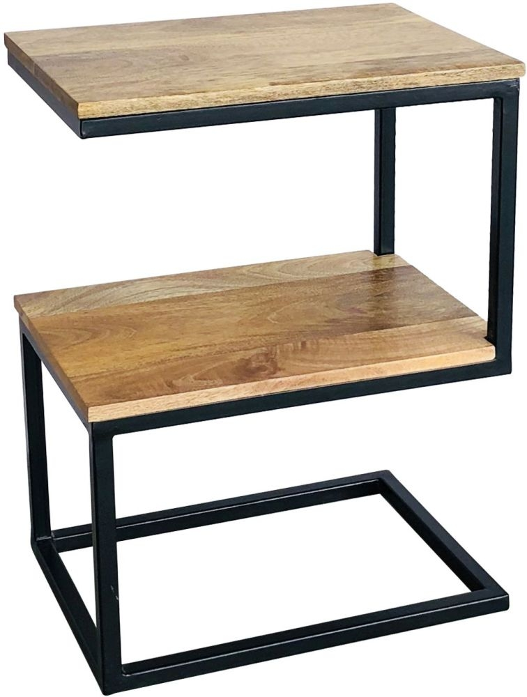 Jaipur Ravi S Shape Side Table - Mango Wood and Iron