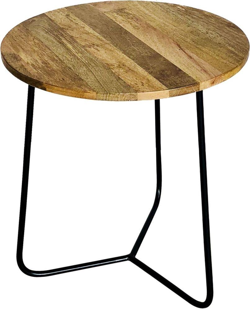 Jaipur Ravi Side Table - Mango Wood and Iron