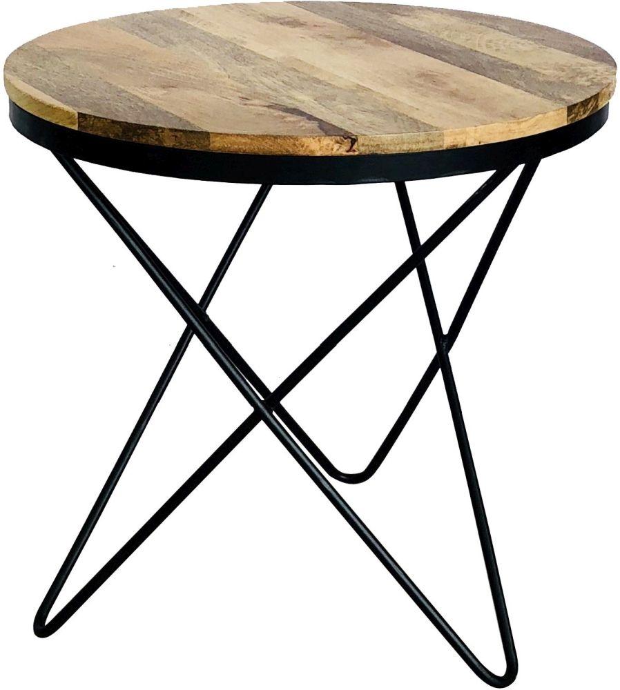 Jaipur Ravi Star Leg Side Table - Mango Wood and Iron