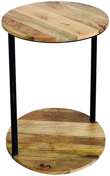 Jaipur Ravi Light Mango Wood and Iron Round Side Table