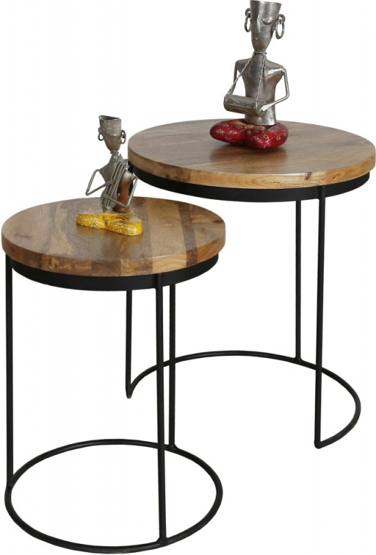Jaipur Ravi Nest of 2 Table - Mango Wood and Iron