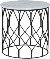 Jaipur Ravi Marble Small Side Table with Iron Base