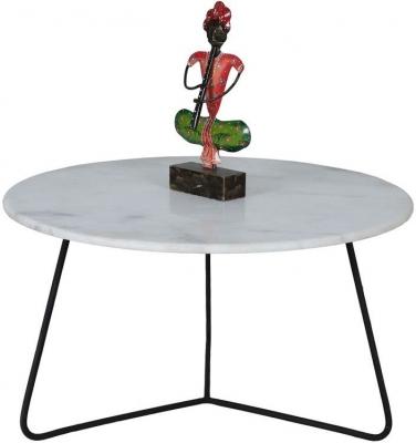 Jaipur Ravi Marble Coffee Table with Iron Base