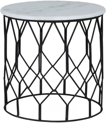 Jaipur Ravi Small Side Table - Marble and Iron