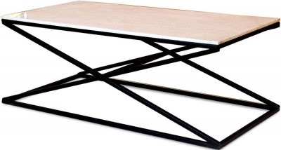 Jaipur Ravi Marble Top Coffee Table with Iron Base