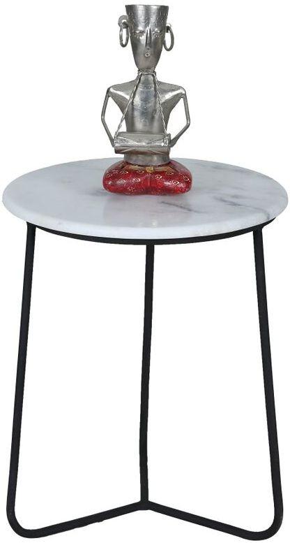 Jaipur Ravi Marble Large Side Table with Iron Base