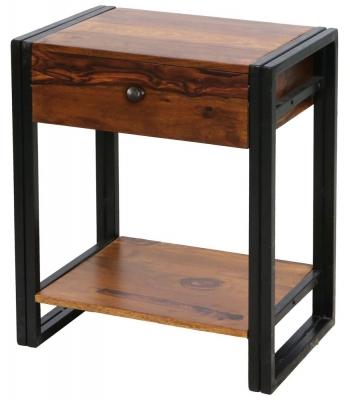 Jaipur Shipra Bedside Table - Sheesham Wood and Metal