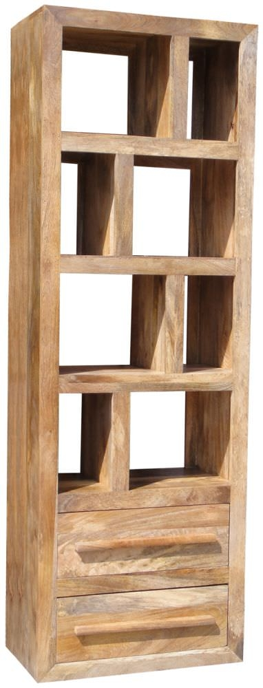 Jaipur Yoga Light Mango Wood Bookcase - Tall 2 Drawer