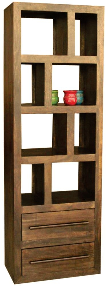 Jaipur Yoga Walnut Mango Wood Bookcase - Tall 2 Drawer