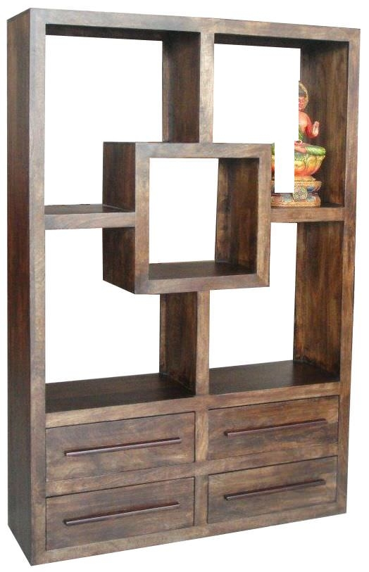 Jaipur Yoga Walnut Mango Wood Straight Bookcase - 4 Drawer