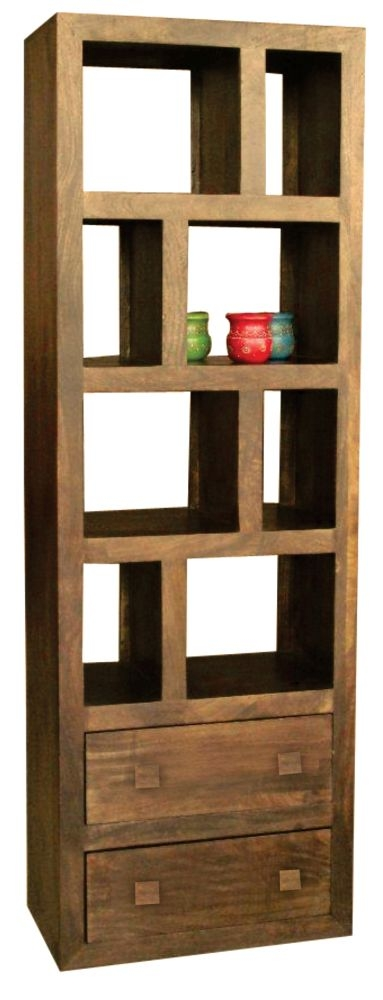 Jaipur Yoga Walnut Mango Wood 2 Drawer Tall Bookcase