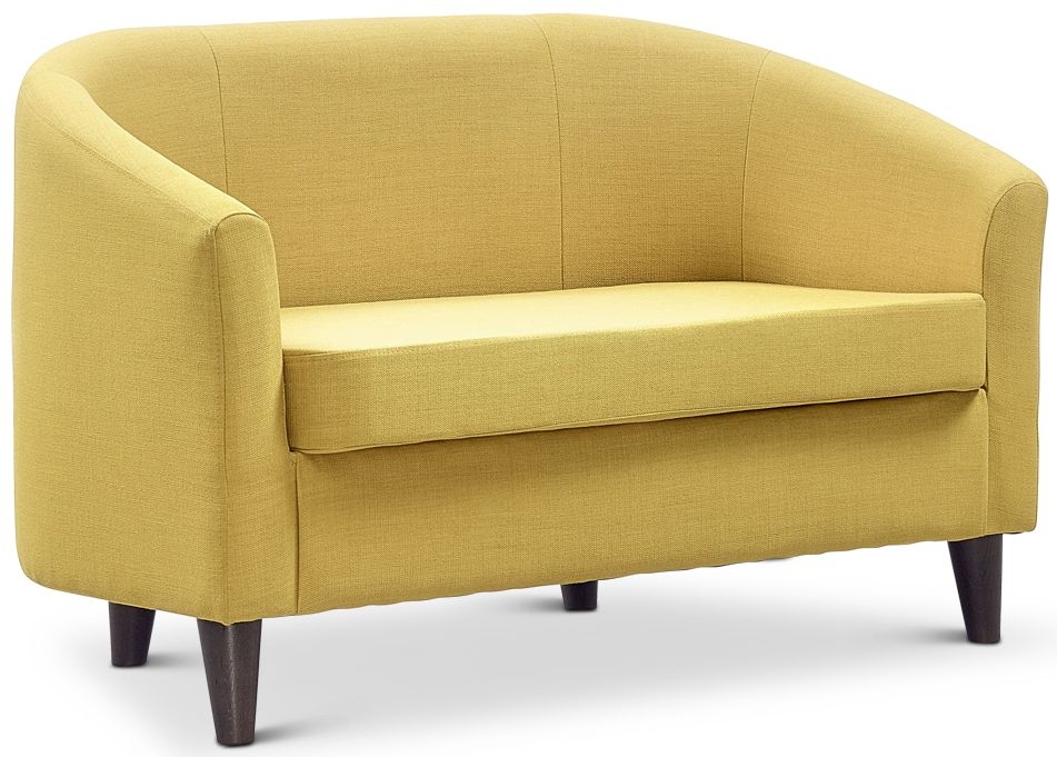 Jay-Be Curve Mustard 2 Seater Sofa with Solid Dark Wood Feet