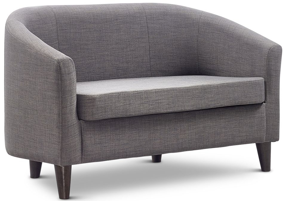 Jay-Be Curve Pewter 2 Seater Sofa with Solid Dark Wood Feet